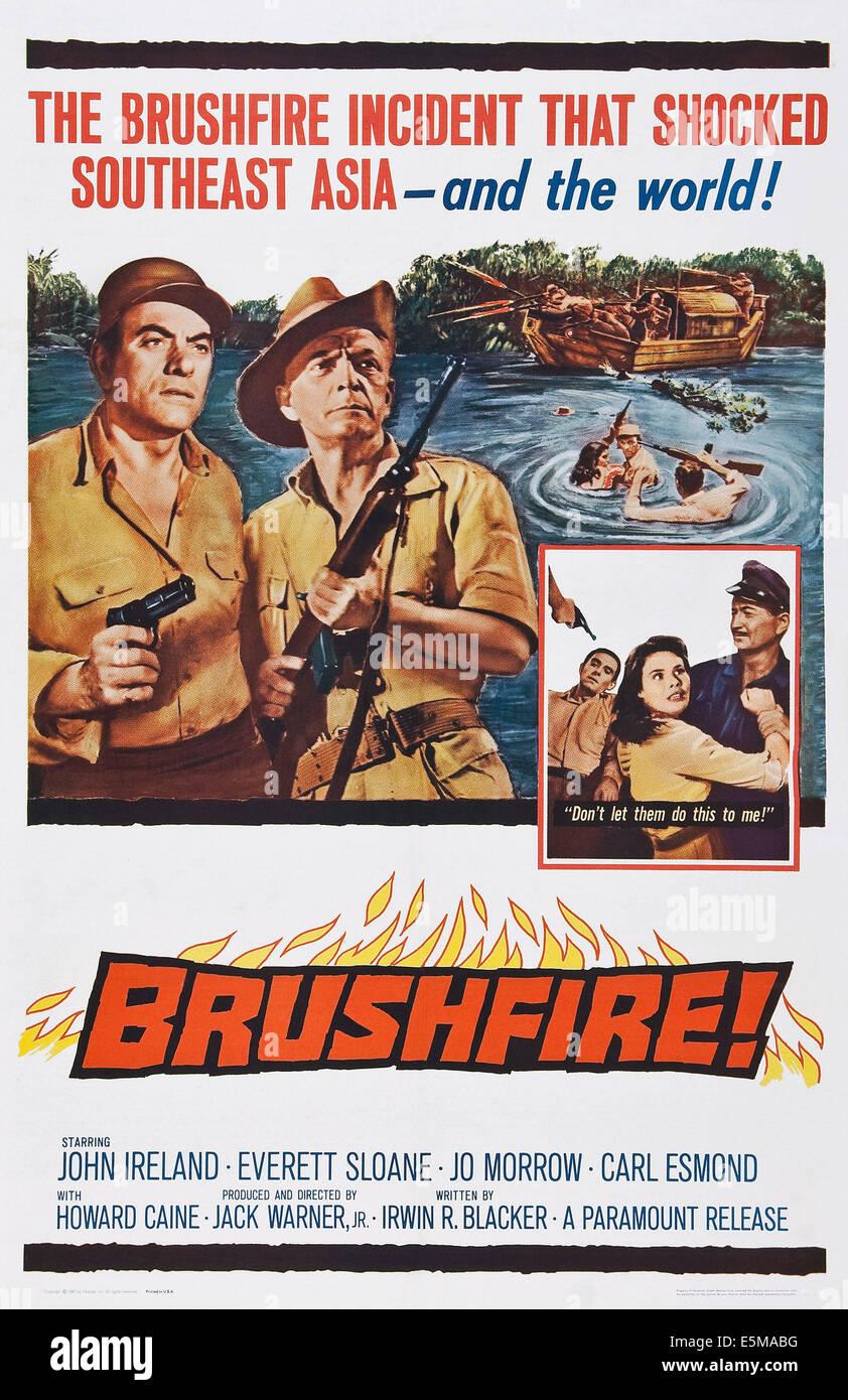 BRUSHFIRE, US poster art, from left: John Ireland, Everett Sloane, 1962 - Stock Image