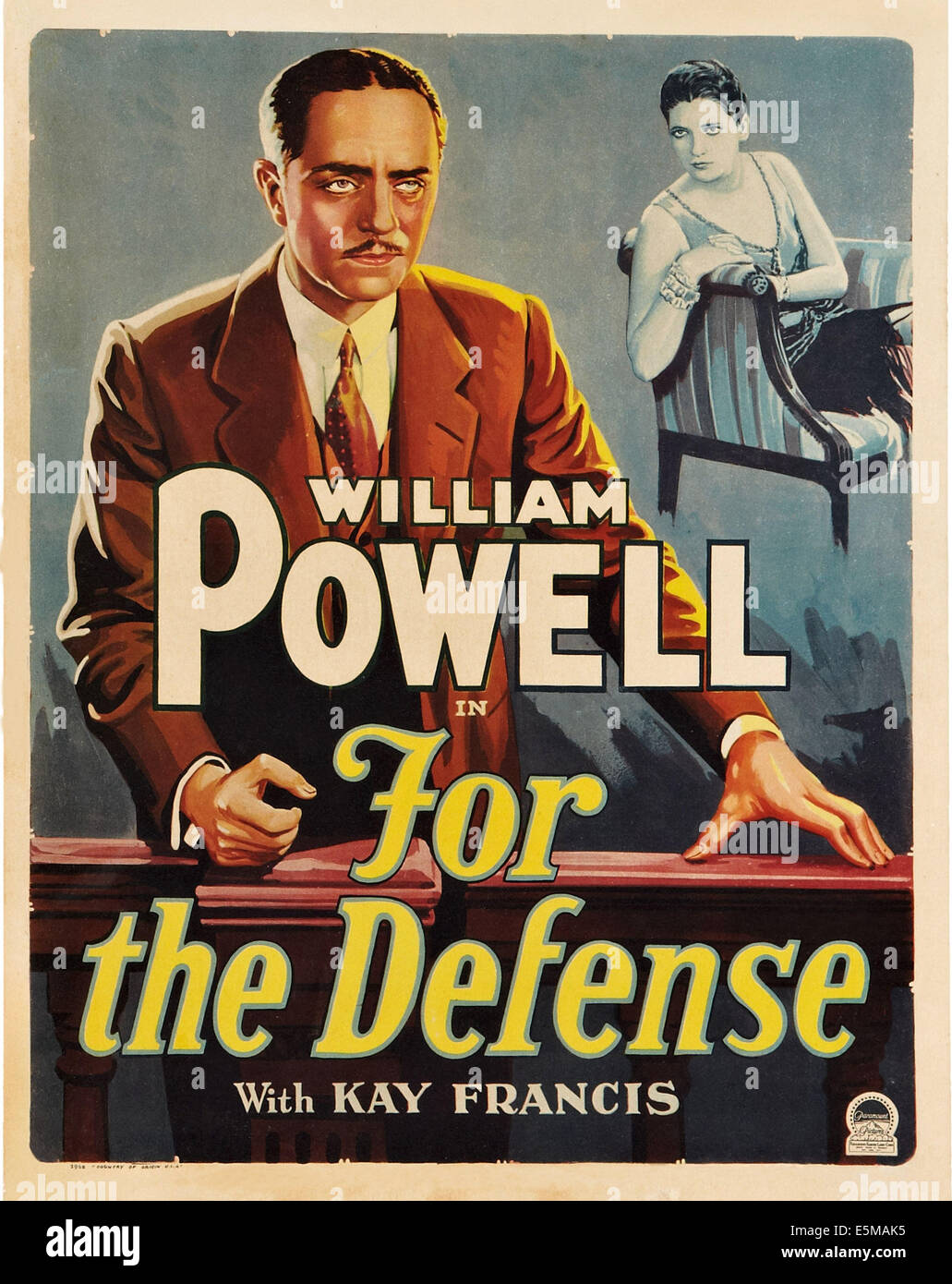 FOR THE DEFENSE, William Powell (front), Kay Francis, 1930 - Stock Image