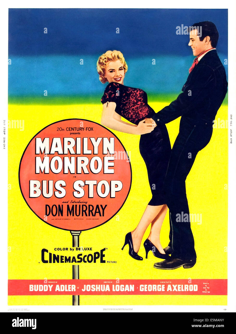 BUS STOP, l-r: Marilyn Monroe, Don Murray on poster art, 1956, TM and Copyright ©20th Century Fox Film Corp. - Stock Image