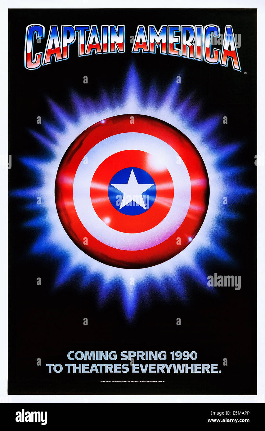 CAPTAIN AMERICA, advance poster art, 1990, ©Columbia Tristar/courtesy Everett Collection - Stock Image