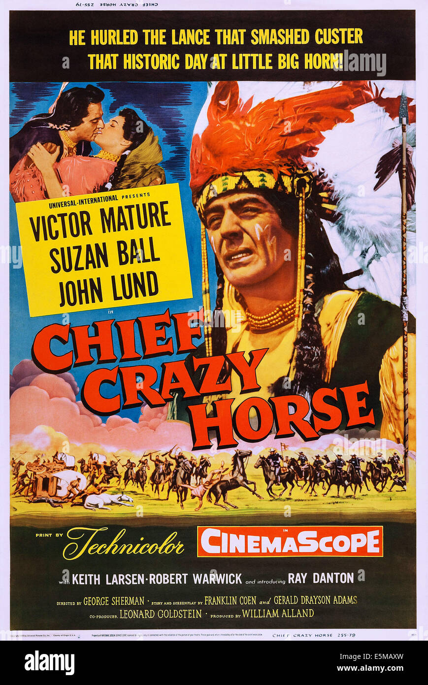 CHIEF CRAZY HORSE, US poster, from left: Victor Mature, Suzan Ball, Victor Mature, 1955 - Stock Image