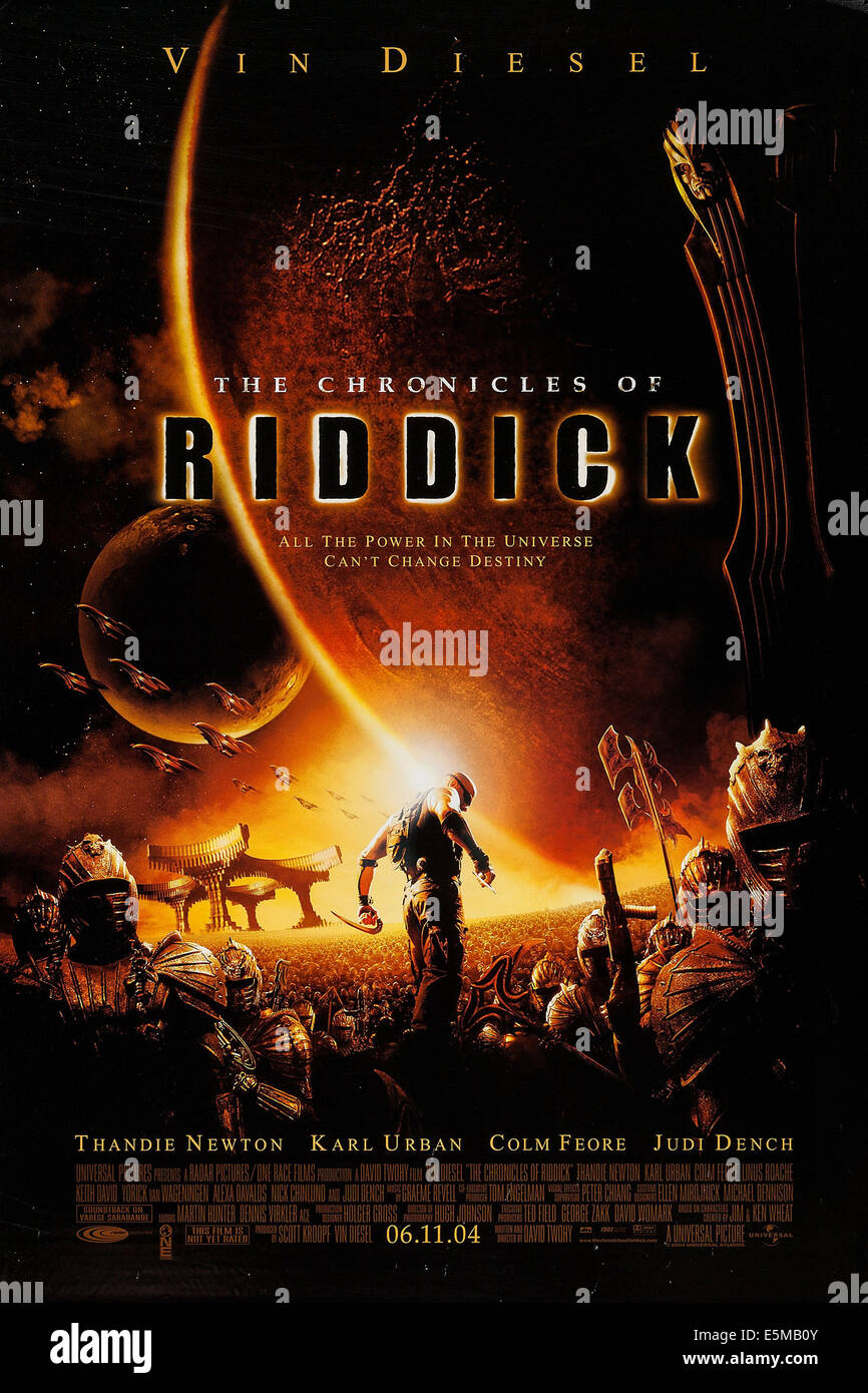 THE CHRONICLES OF RIDDICK, US advance poster art, 2004. ©Universal/courtesy Everett - Stock Image