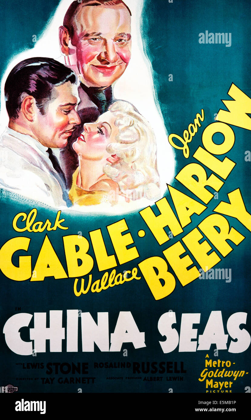 CHINA SEAS, front from left: Clark Gable, Jean Harlow, Wallace Beery (top), 1935 - Stock Image