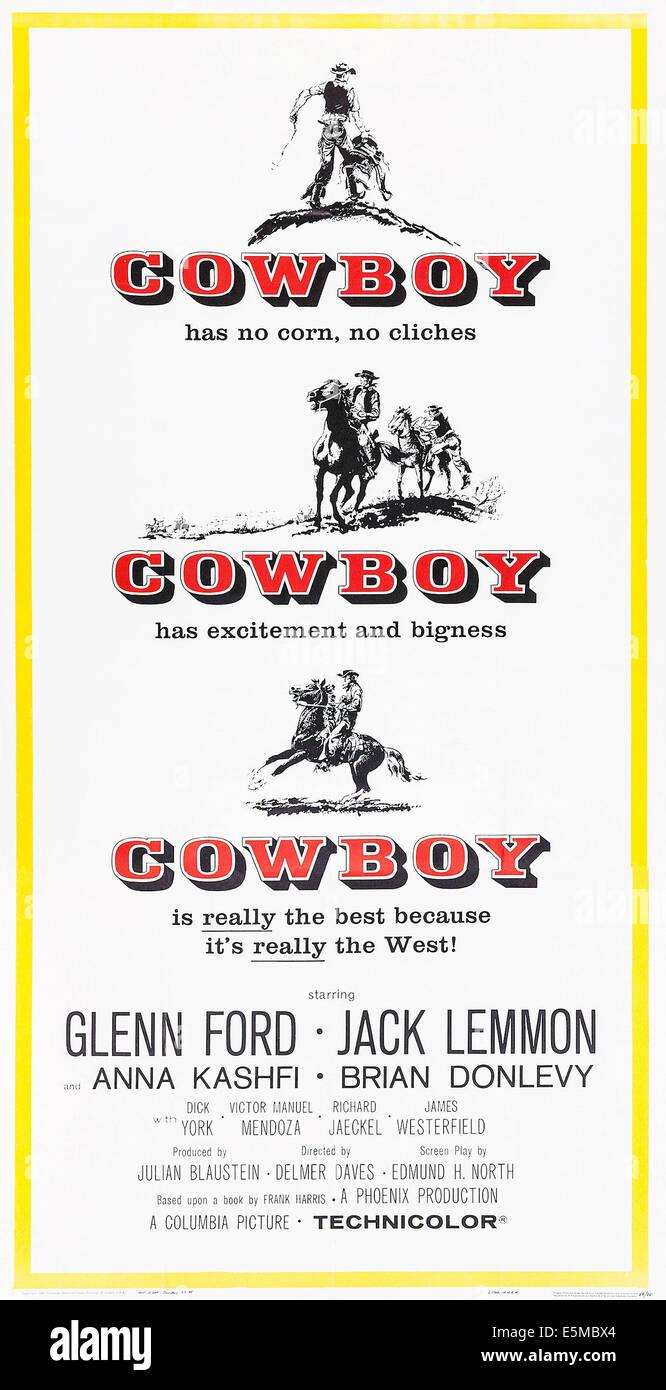COWBOY, poster art, 1958. - Stock Image