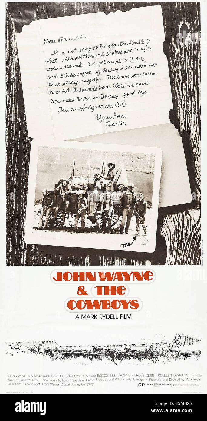 THE COWBOYS, poster art, 1972. - Stock Image