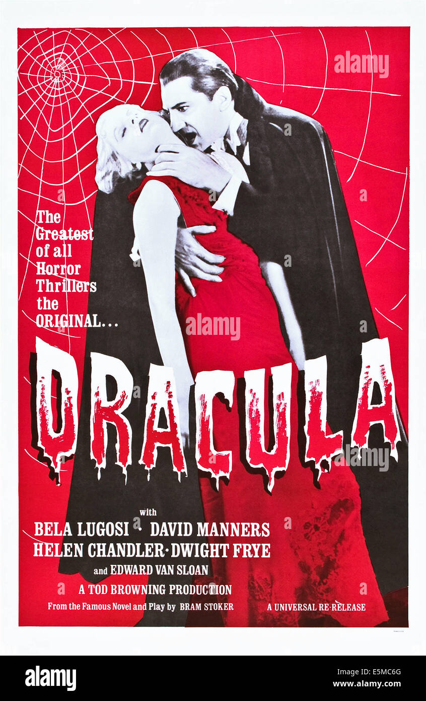 DRACULA, from left: Frances Dade, Bela Lugosi on a re-release poster, 1931. Stock Photo