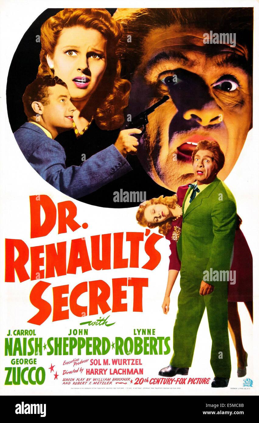 DR. RENAULT'S SECRET, US poster, John Shepperd, Lynne Roberts, J. Carrol Naish, 1942. © 20th Century-Fox - Stock Image
