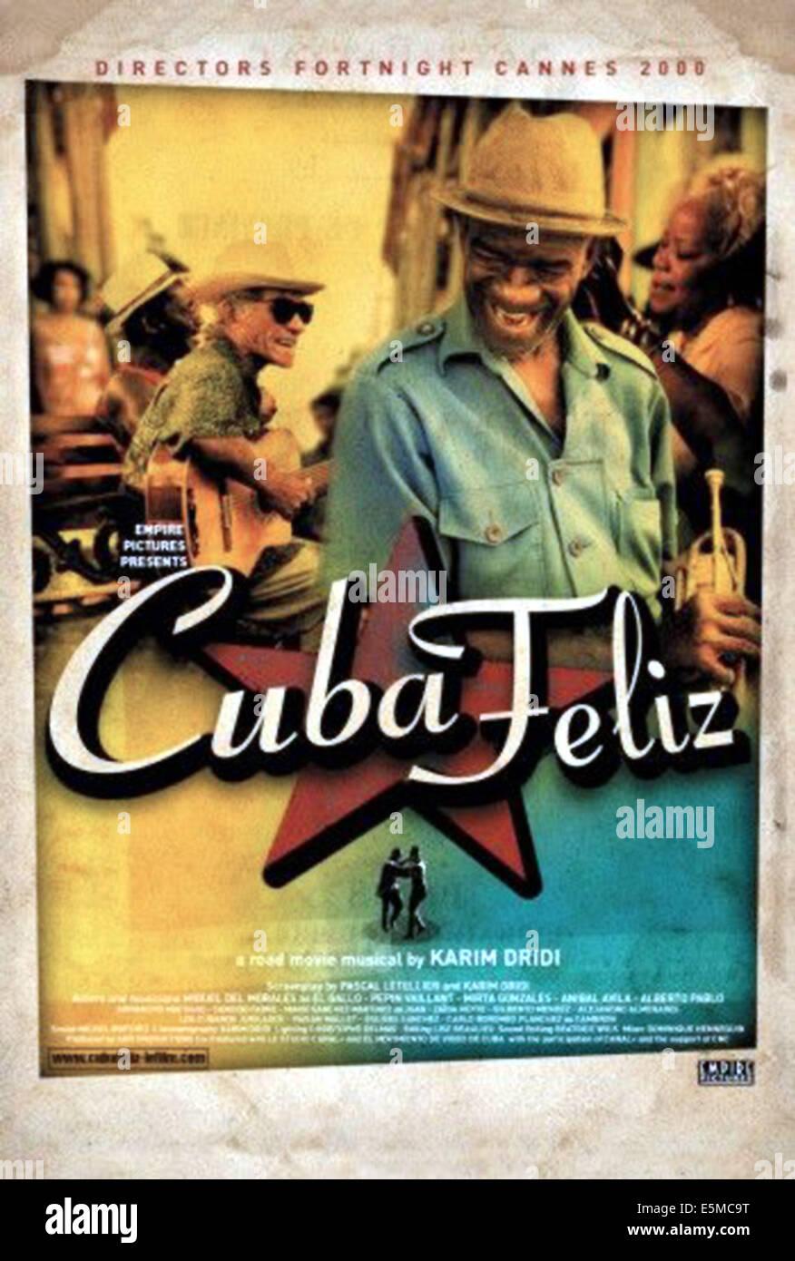 CUBA FELIZ, Poster art featring Miguel De Morales, Pepin Vaillant, 2000. - Stock Image