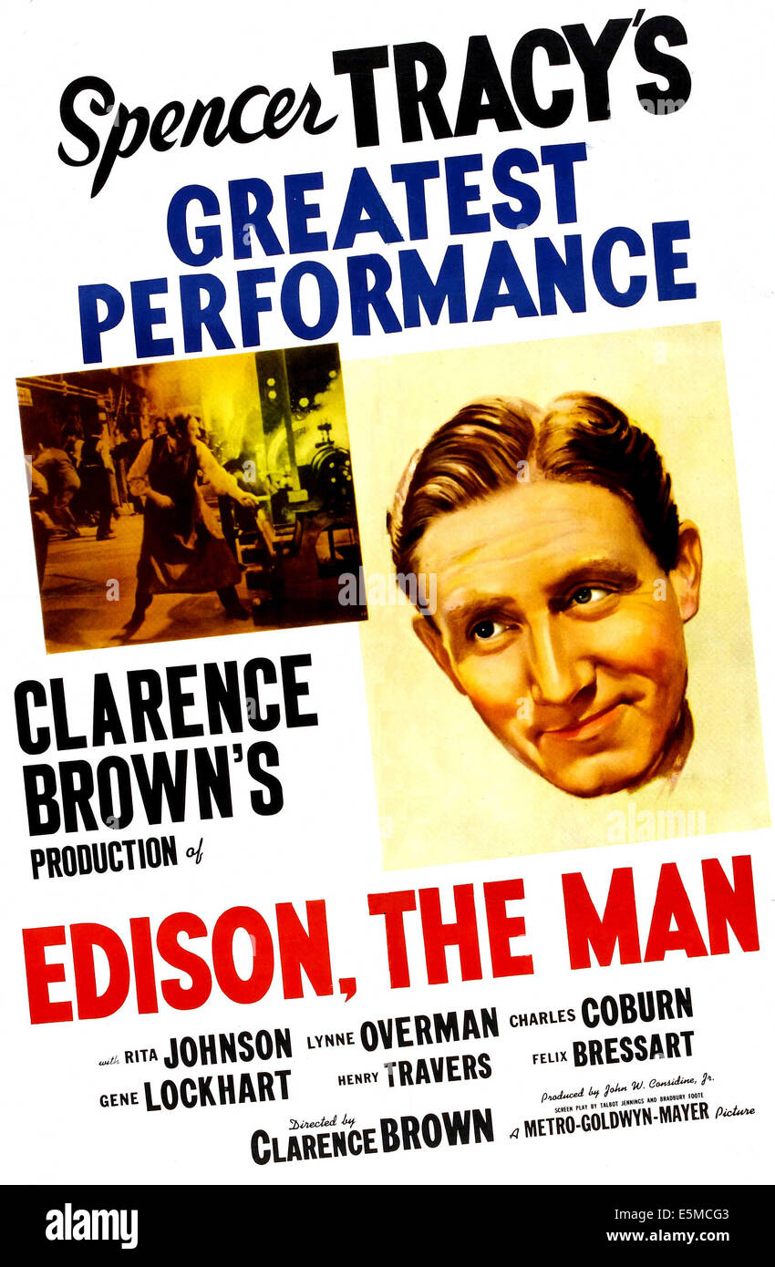 EDISON, THE MAN, US poster, Spencer Tracy, 1940 Stock Photo