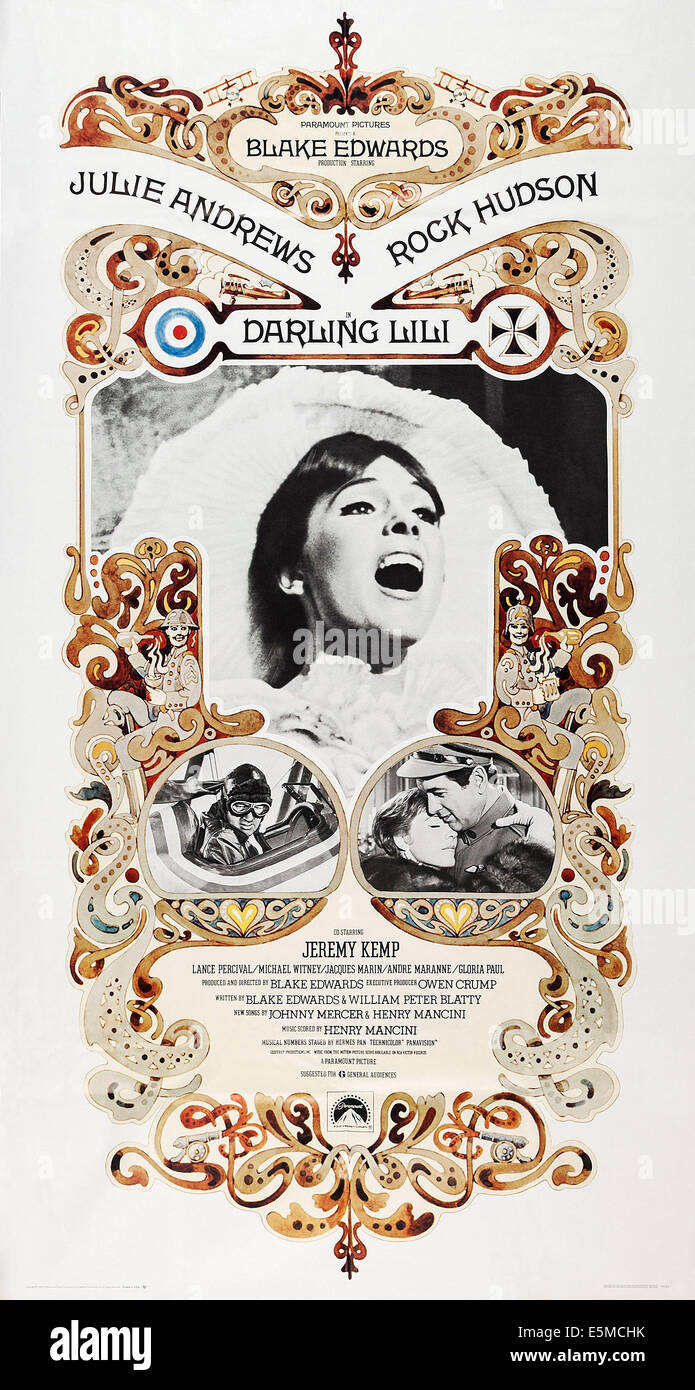 DARLING LILI, US poster, Julie Andrews (center), bottom from left: Rock Hudson, Julie Andrews, Rock Hudson, 1970 - Stock Image