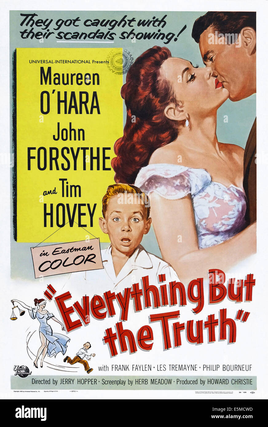 EVERYTHING BUT THE TRUTH, US poster art, from left: Tim Hovey, Maureen O'Hara, John Forsythe, 1956 - Stock Image