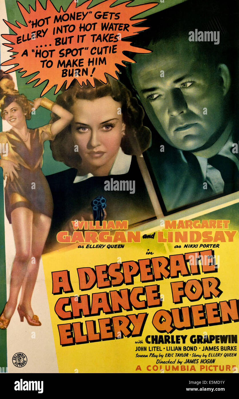 A DESPERATE CHANCE FOR ELLERY QUEEN, from left, Lilian Bond, Margaret Lindsay, William Gargan, 1942 - Stock Image