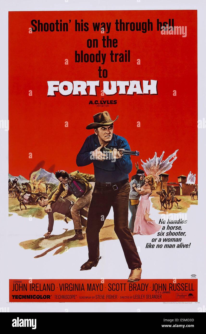 FORT UTAH, center: John Ireland on poster art, 1967 - Stock Image