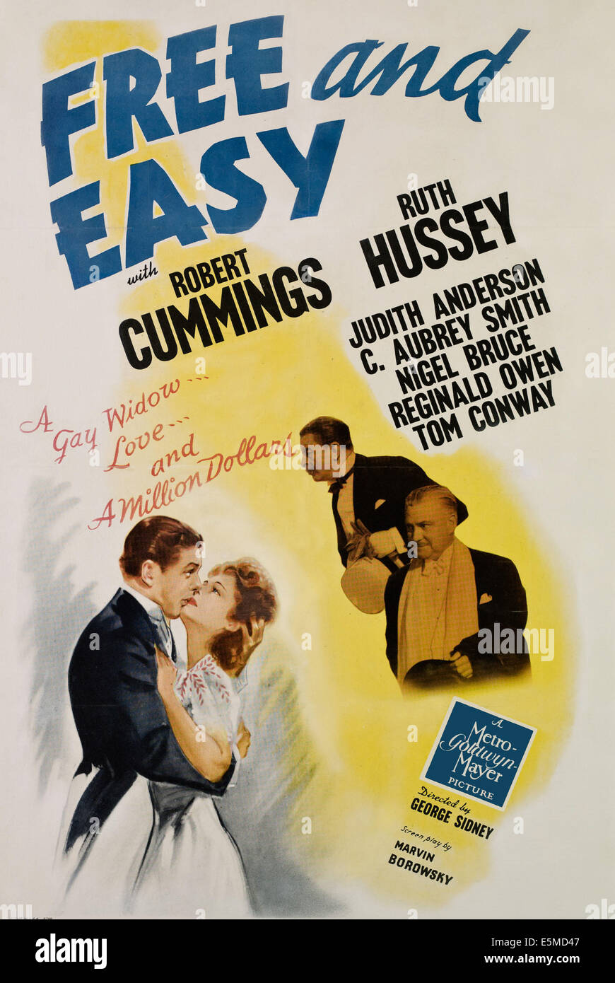 FREE AND EASY, from left, Robert Cummings, Ruth Hussey, Reginald Owen, Nigel Bruce, 1941 - Stock Image