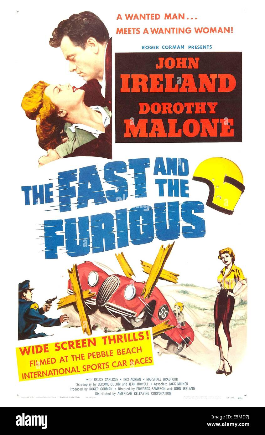 THE FAST AND THE FURIOUS, US poster, top from left: Dorothy Malone, John Ireland, 1955 - Stock Image