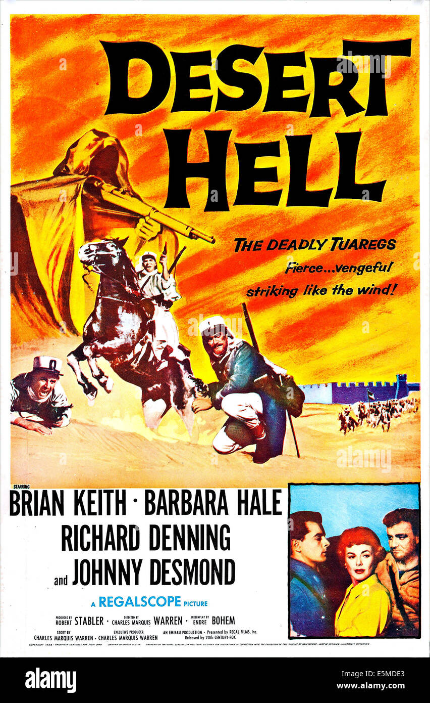 DESERT HELL US Poster Bottom From Left Johnny Desmond Barbara Hale Brian Keith On Art 1958