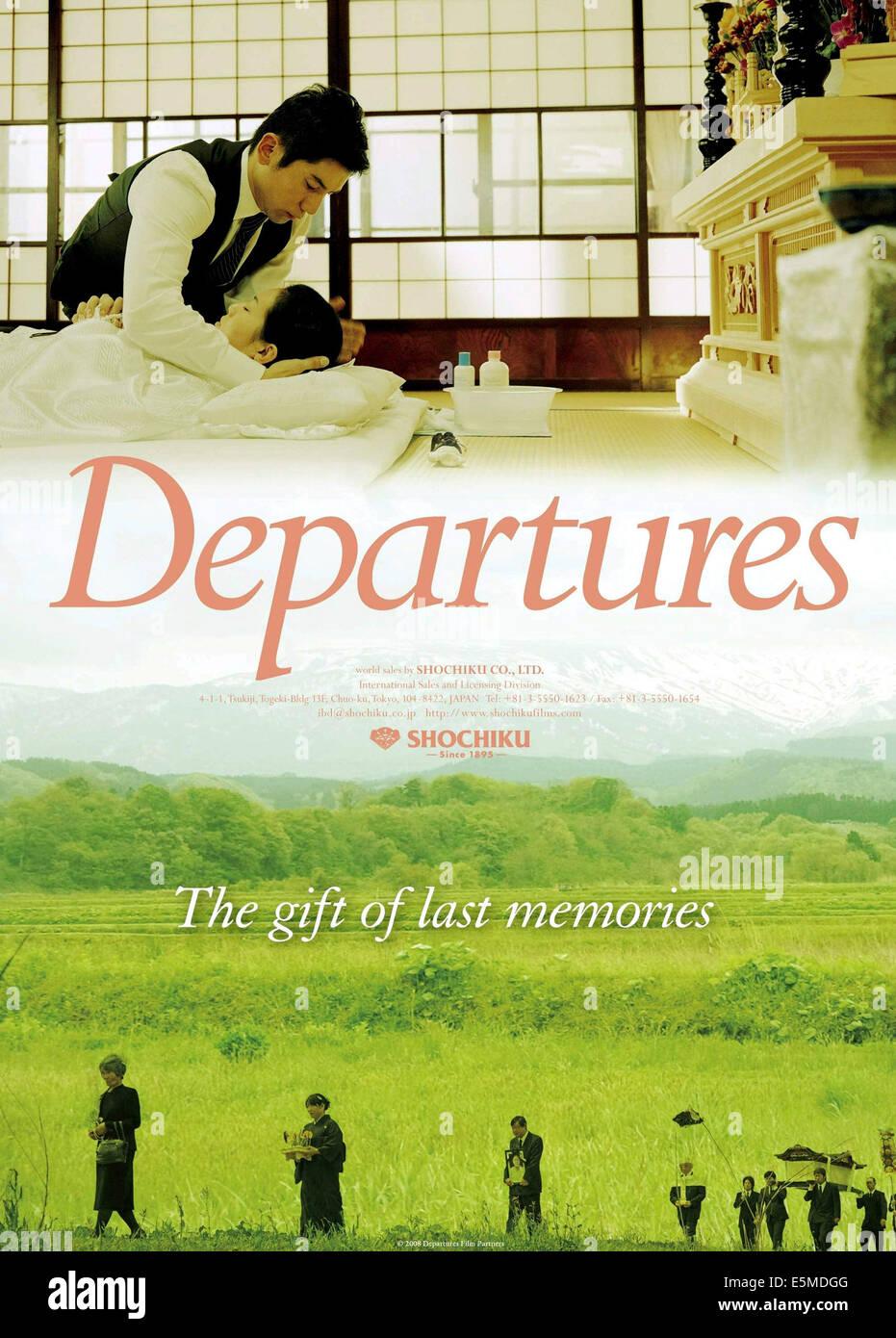 DEPARTURES, (aka OKURIBITO), top, from left: Masahiro Motoki, Ryoko Hirosue, 2008. ©ContentFilm International/Courtesy - Stock Image