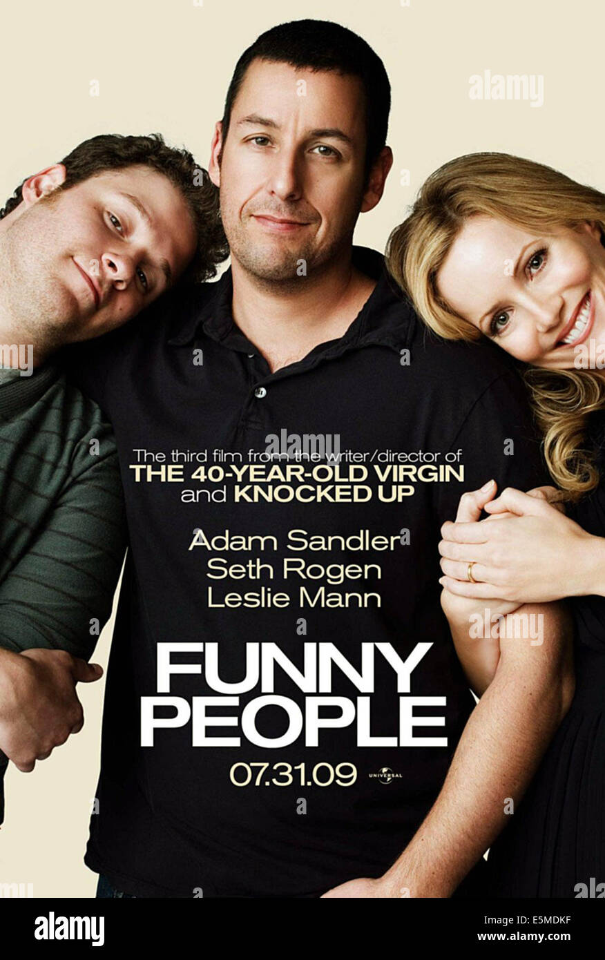 FUNNY PEOPLE, from left: Seth Rogen, Adam Sandler, Leslie Mann, 2009. ©Universal/courtesy Everett Collection - Stock Image