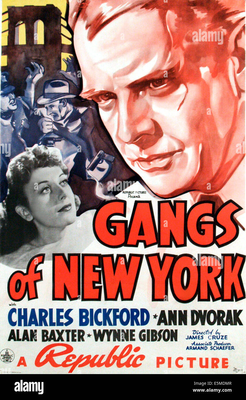 GANGS OF NEW YORK, l-r: Ann Dvorak, Charles Bickford on poster art, 1938 - Stock Image