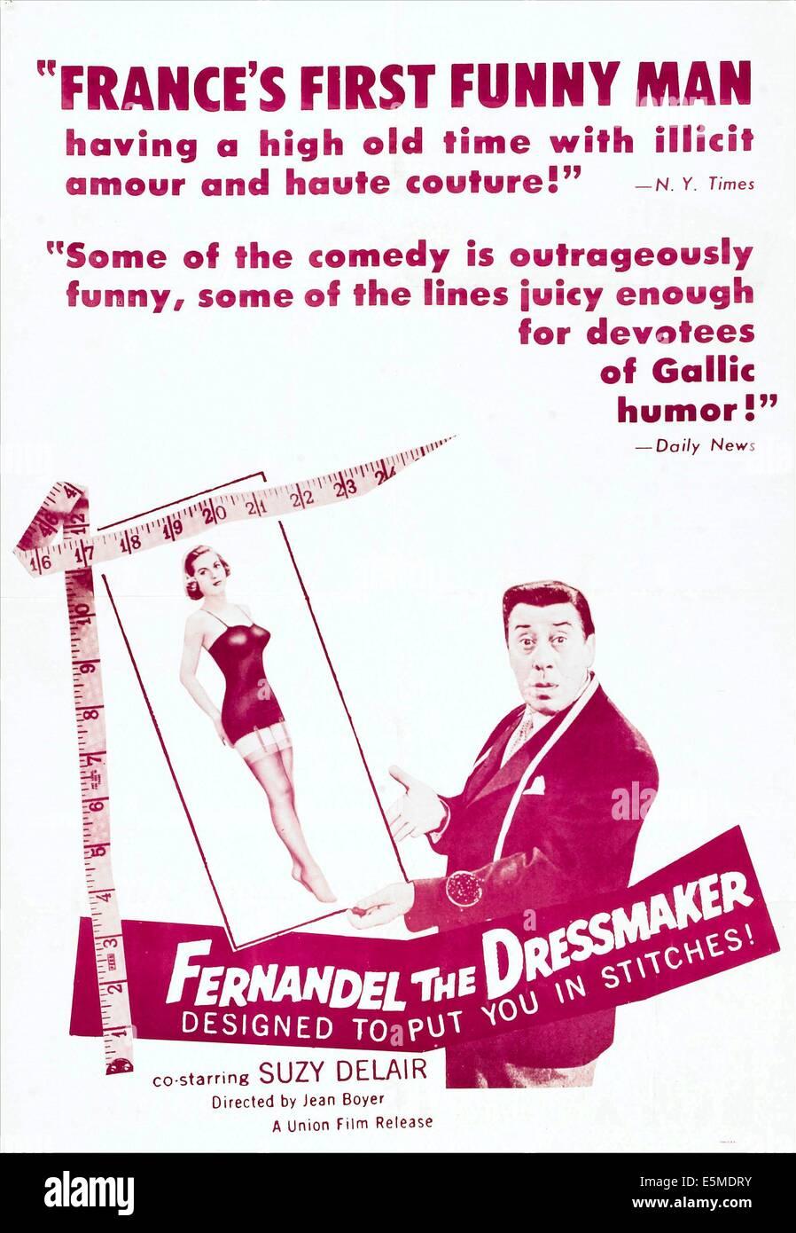 FERNANDEL THE DRESSMAKER, (aka LE COUTURIER DE CAS DAMES), US poster, from left: Suzy Delair, Fernandel, 1956 - Stock Image