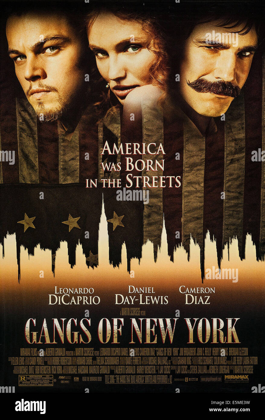 GANGS OF NEW YORK, US poster art, from left: Leonardo DiCaprio, Cameron Diaz, Daniel Day-Lewis, 2002, ©Miramax - Stock Image