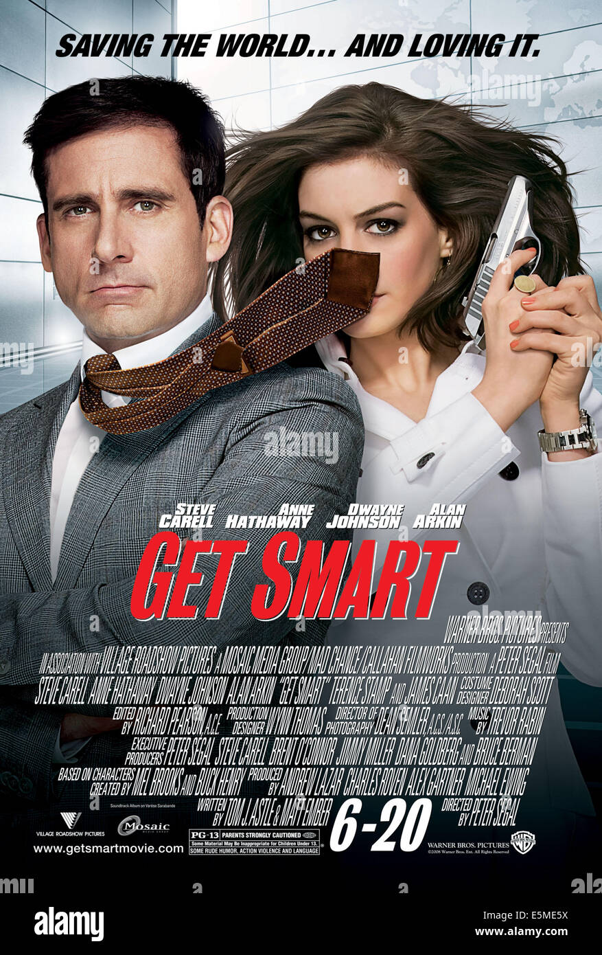 GET SMART, Steve Carell, Anne Hathaway, 2008. ©Warner Bros./courtesy Everett Collection  FOR EDITORIAL USE - Stock Image