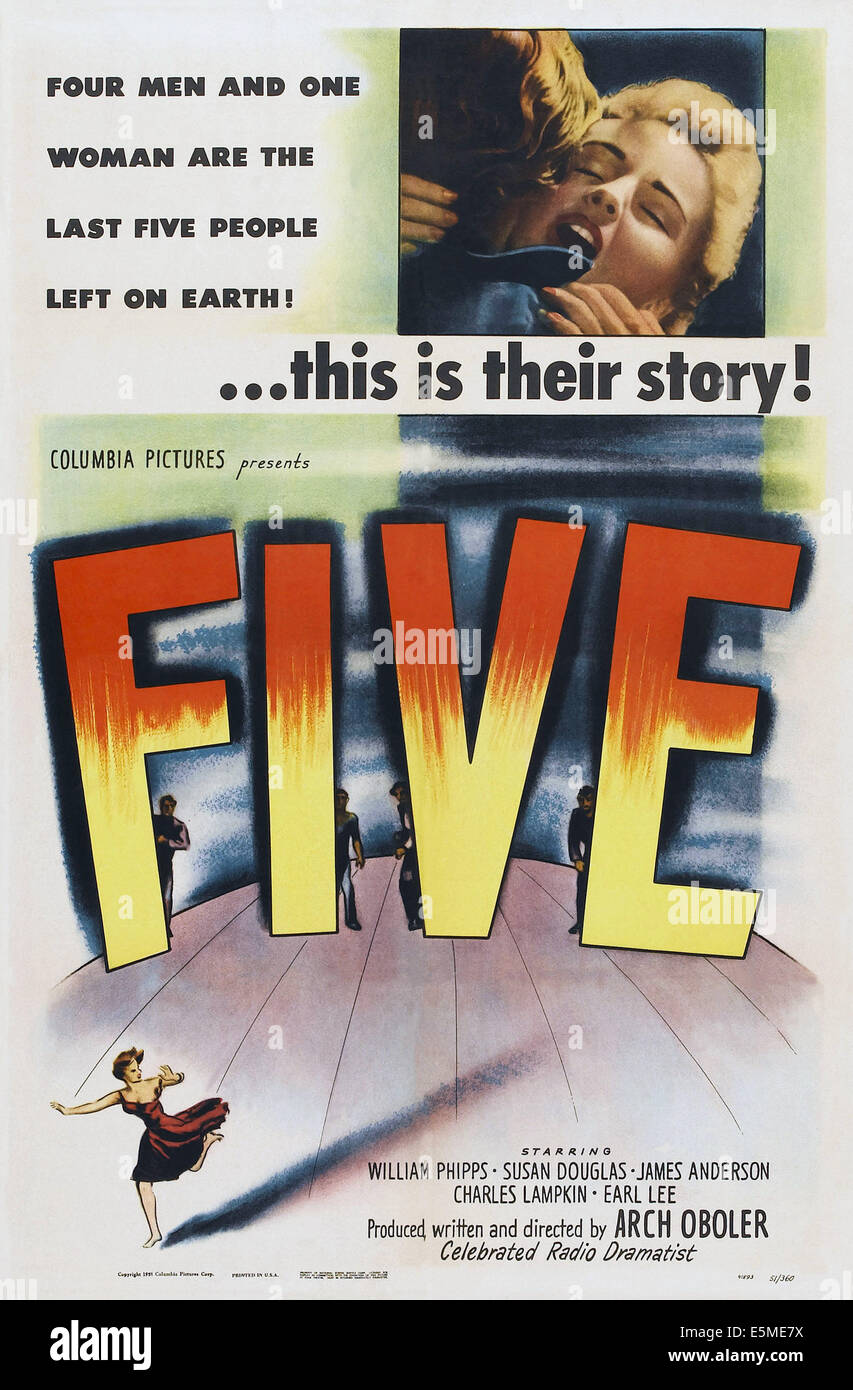 FIVE, US poster art, 1951 - Stock Image