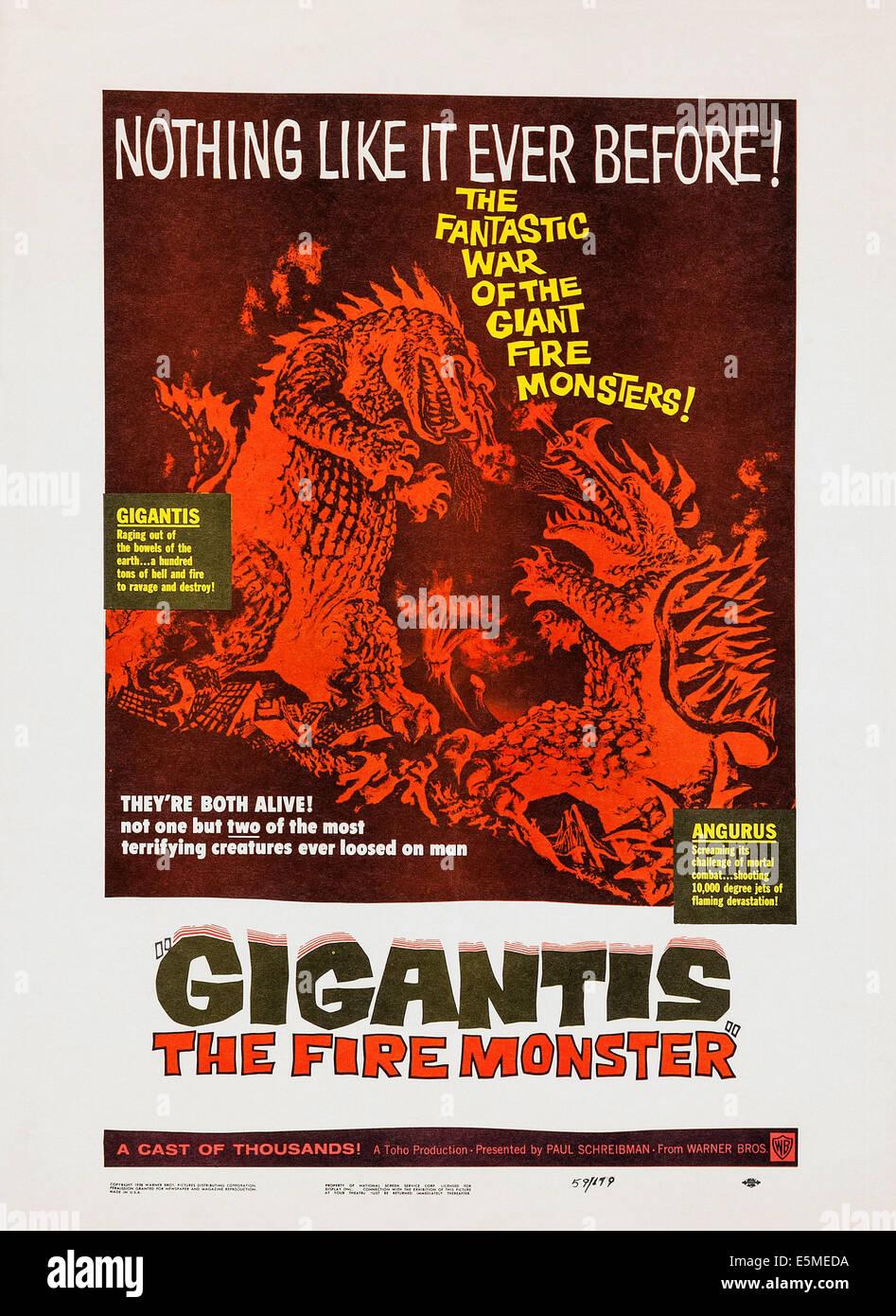 GIGANTIS, THE FIRE MONSTER, (aka GOJIRA NO GYAKUSHU, aka GODZILLA'S COUNTER ATTACK), poster art, 1955 - Stock Image