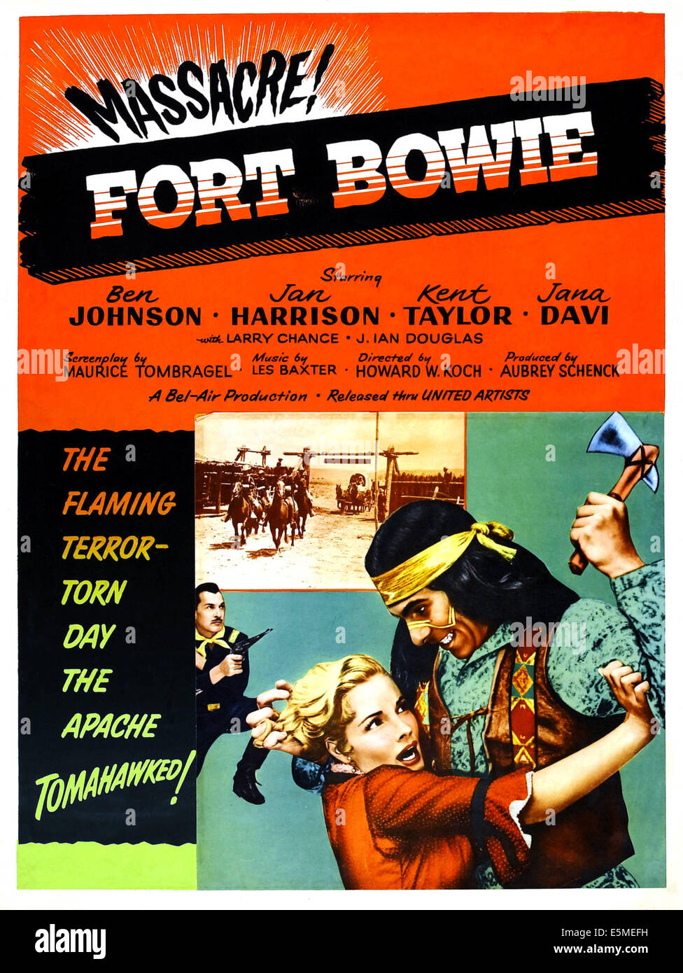 FORT BOWIE, Ben Johnson, Jan Harrison, 1958. - Stock Image