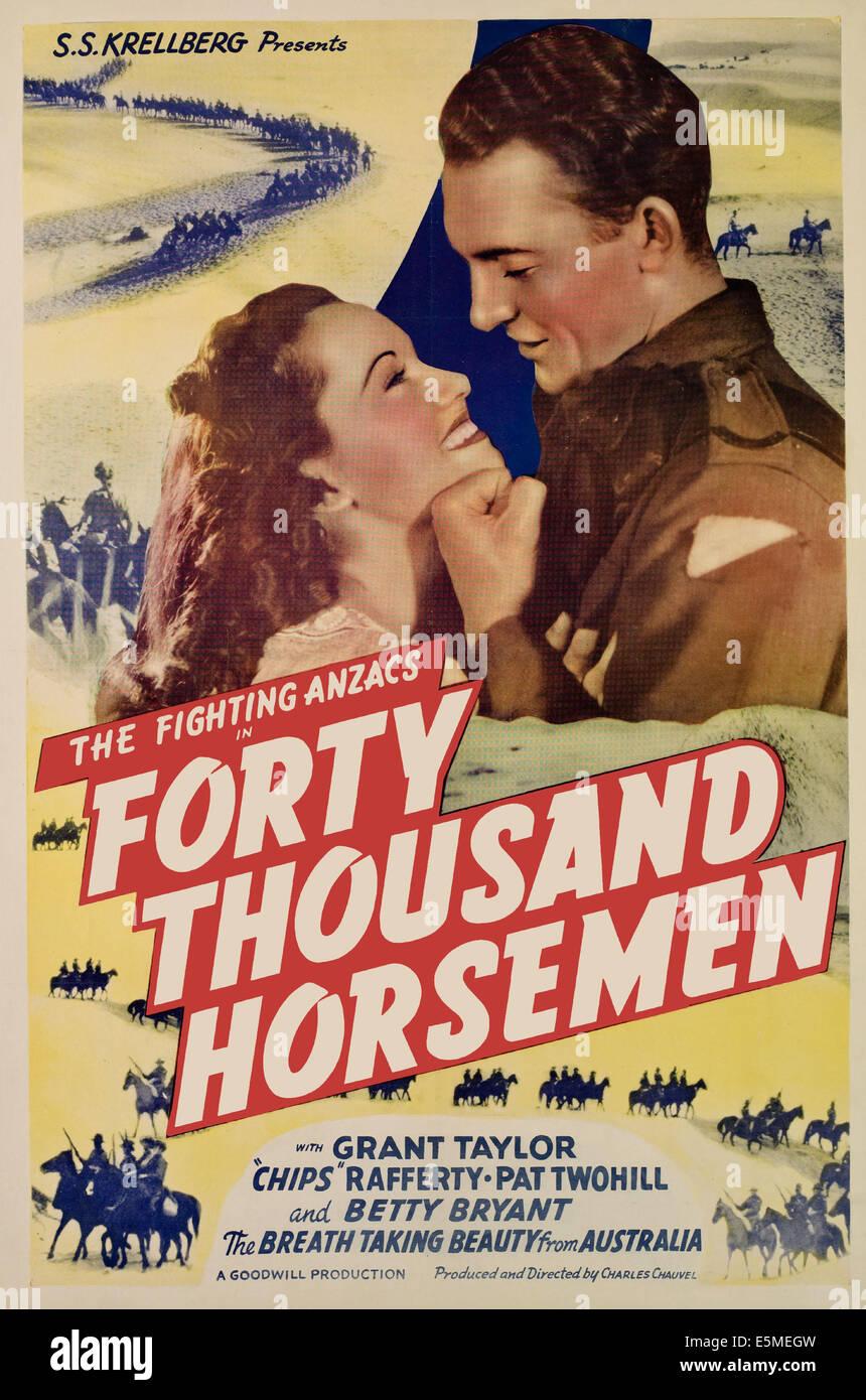 40,000 HORSEMEN, (aka  FORTY THOUSAND HORSEMEN), from left, Betty Byrant, Grant Taylor, 1940 - Stock Image