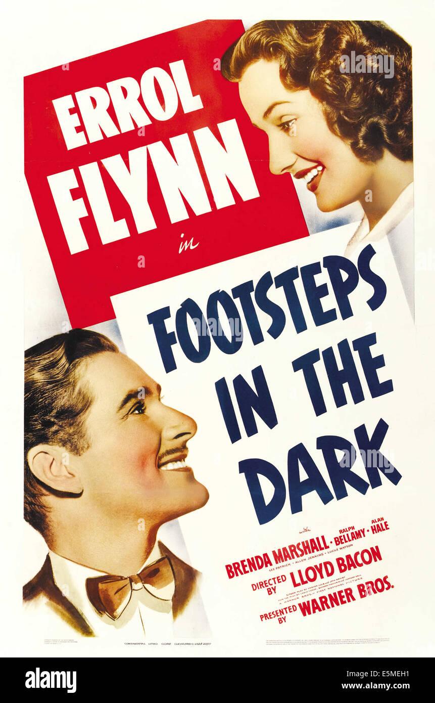 FOOTSTEPS IN THE DARK, from left: Errol Flynn, Brenda Marshall, 1941. - Stock Image