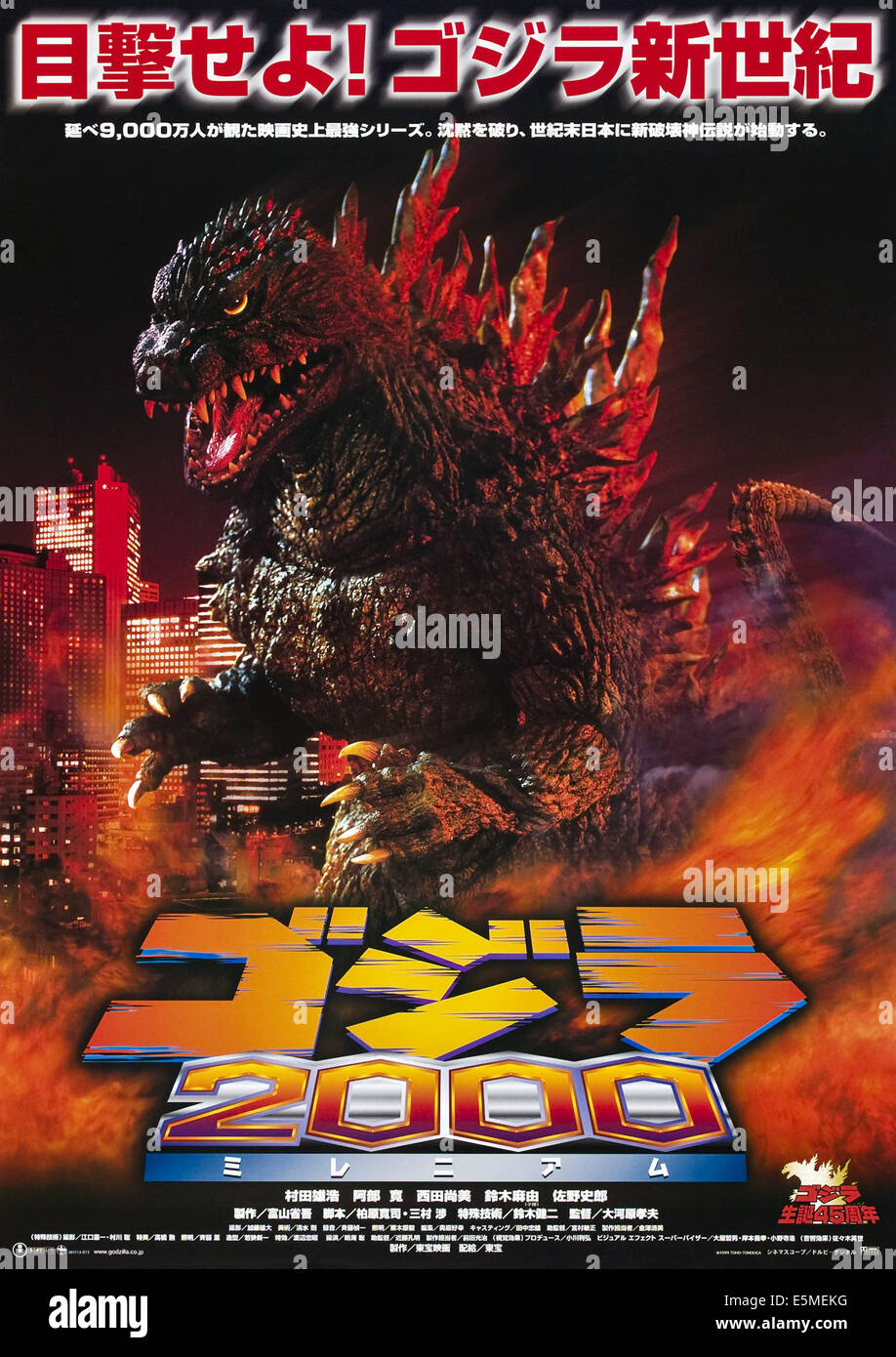 GODZILLA 2000, (aka GOJIRA NI-SEN MIRENIAMU), Godzilla on Japanese poster art, 1999, ©TriStar Pictures/courtesy - Stock Image