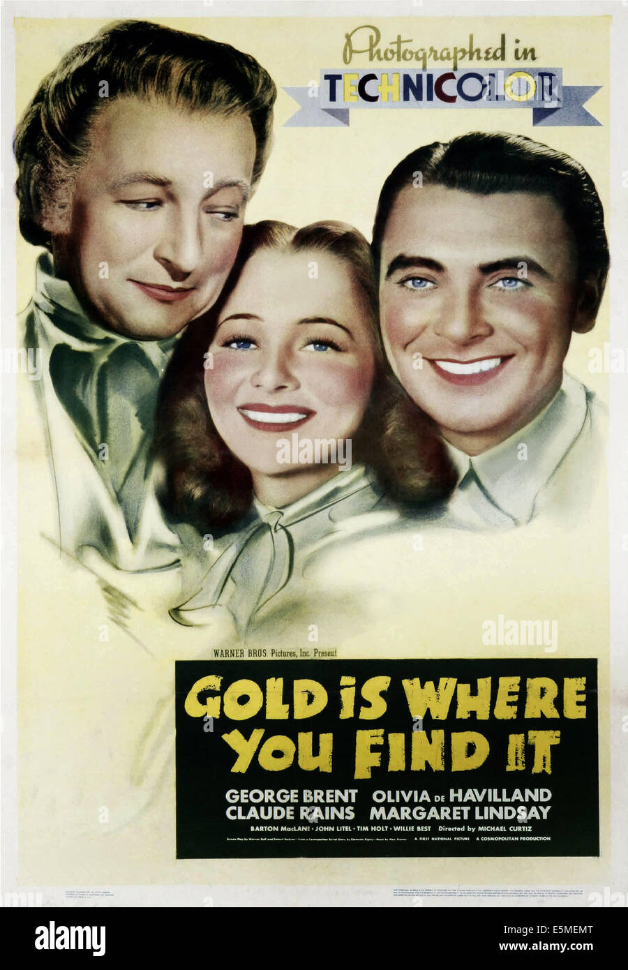 GOLD IS WHERE YOU FIND IT, US poster art, from left: Claude Rains, Olivia De Havilland, George Brent, 1938 Stock Photo