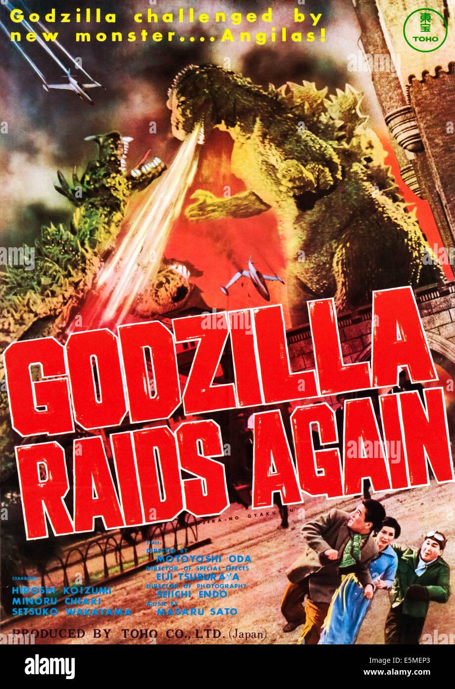 GODZILLA RAIDS AGAIN, (aka GOJIRA NO GYAKUSHU), top right: Godzilla on poster art, 1955. - Stock Image