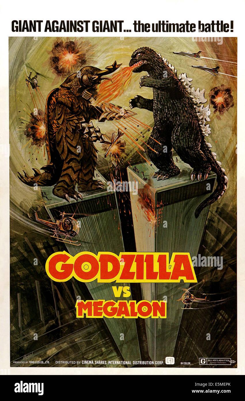 GODZILLA VS. MEGALON, (aka GOJIRA TAI MEGARO), l-r: Megalon, Godzilla on poster art, 1973 - Stock Image