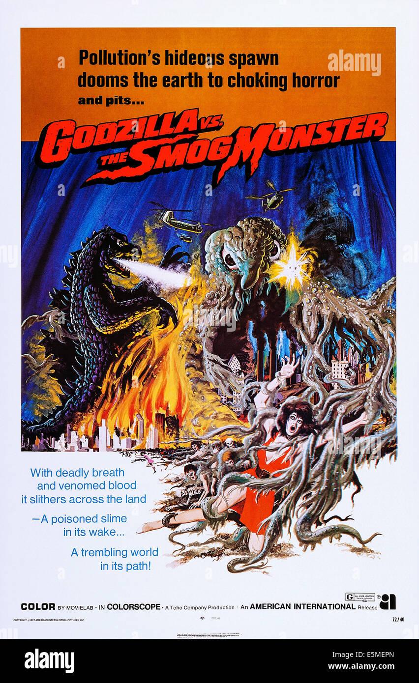 GODZILLA VS. THE SMOG MONSTER, (aka GOJIRA TAI HEDORA), US poster, 1971 - Stock Image