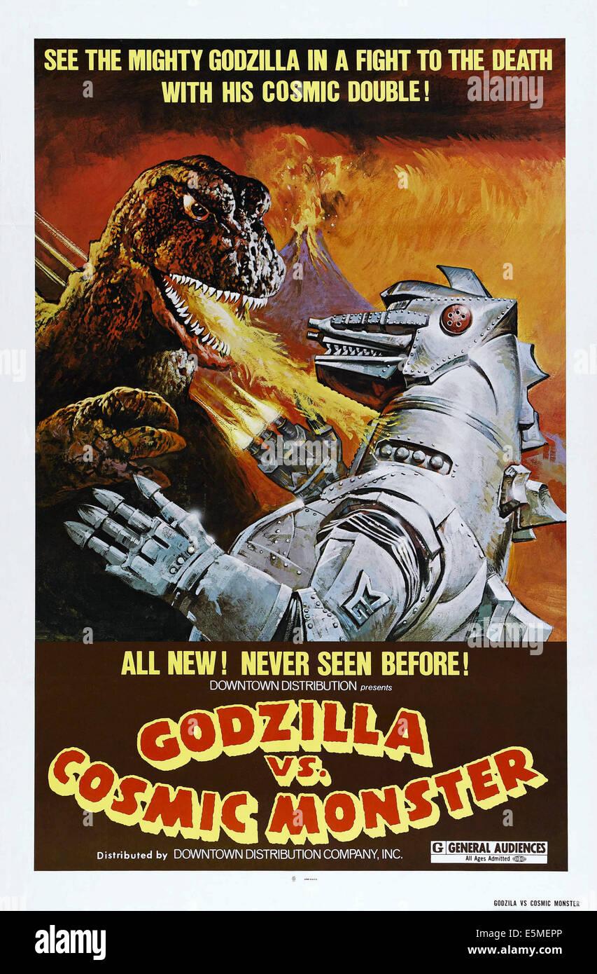 GODZILLA VS. MECHAGODZILLA, (aka GODZILLA VS. COSMIC MONSTER, aka GOJIRA TAI MEKAGOJIRA), US poster, 1974 - Stock Image