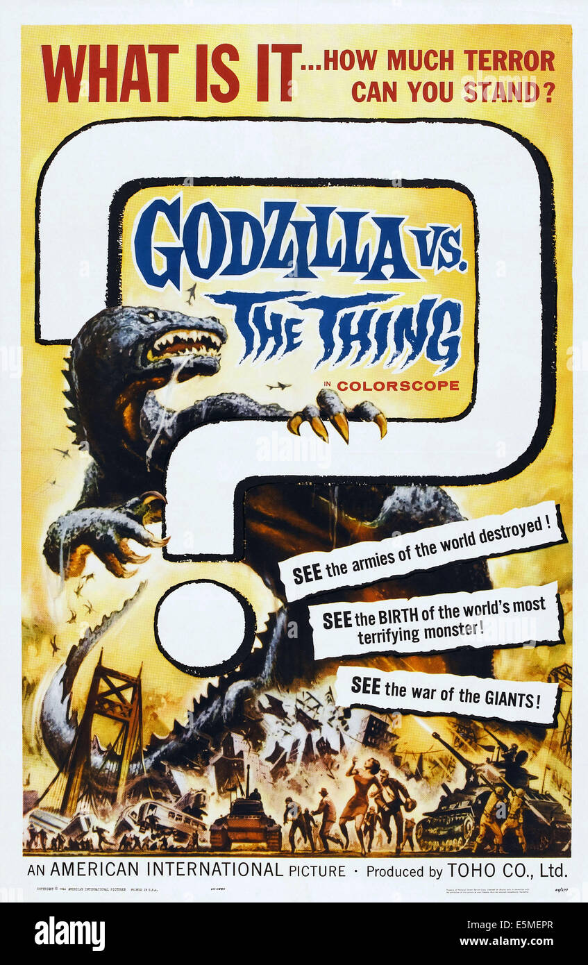 GODZILLA VS. THE THING, (aka MOTHRA VS. GODZILLA, aka MOSURA TAI GOJIRA), US poster, Godzilla, 1964 - Stock Image