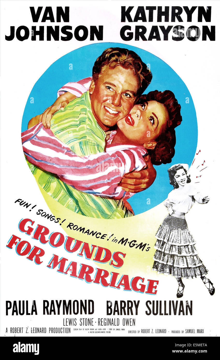 GROUNDS FOR MARRIAGE, US poster, Van Johnson, Kathryn Grayson, Paula Raymond, 1951 - Stock Image