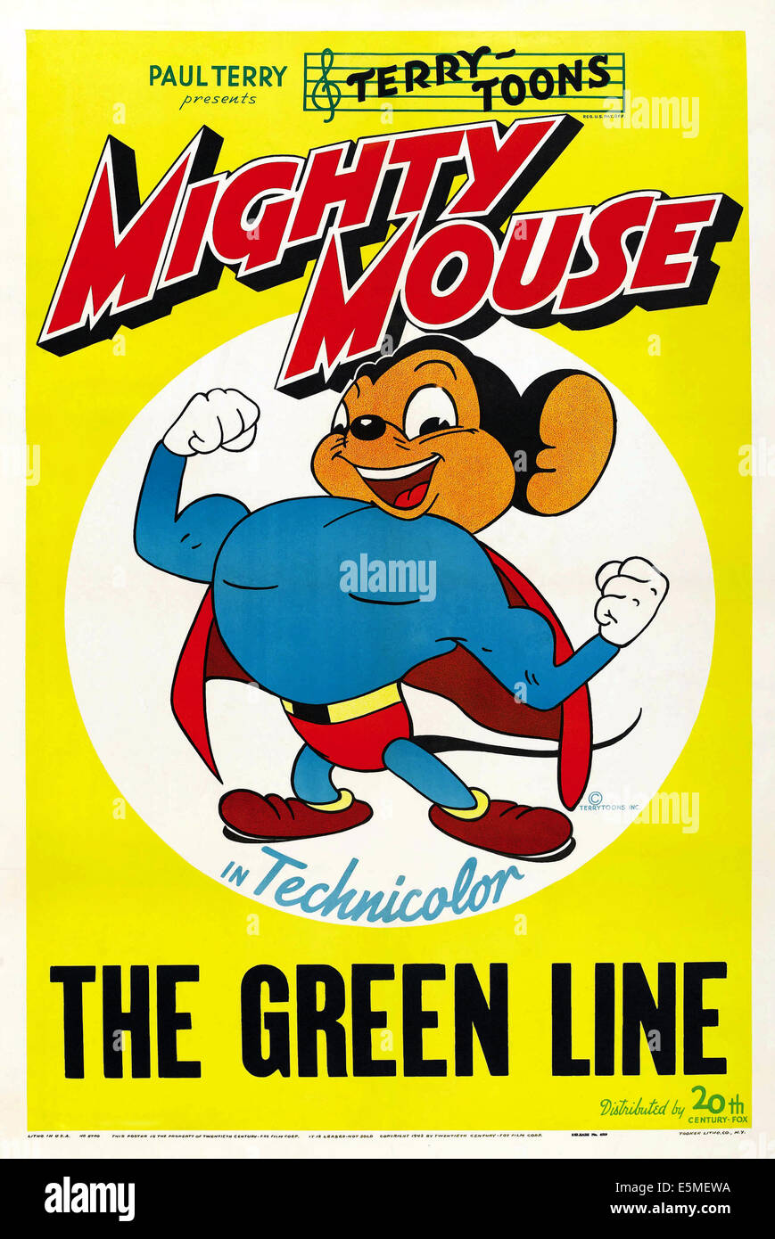 THE GREEN LINE, US poster art, Mighty Mouse, 1944 - Stock Image