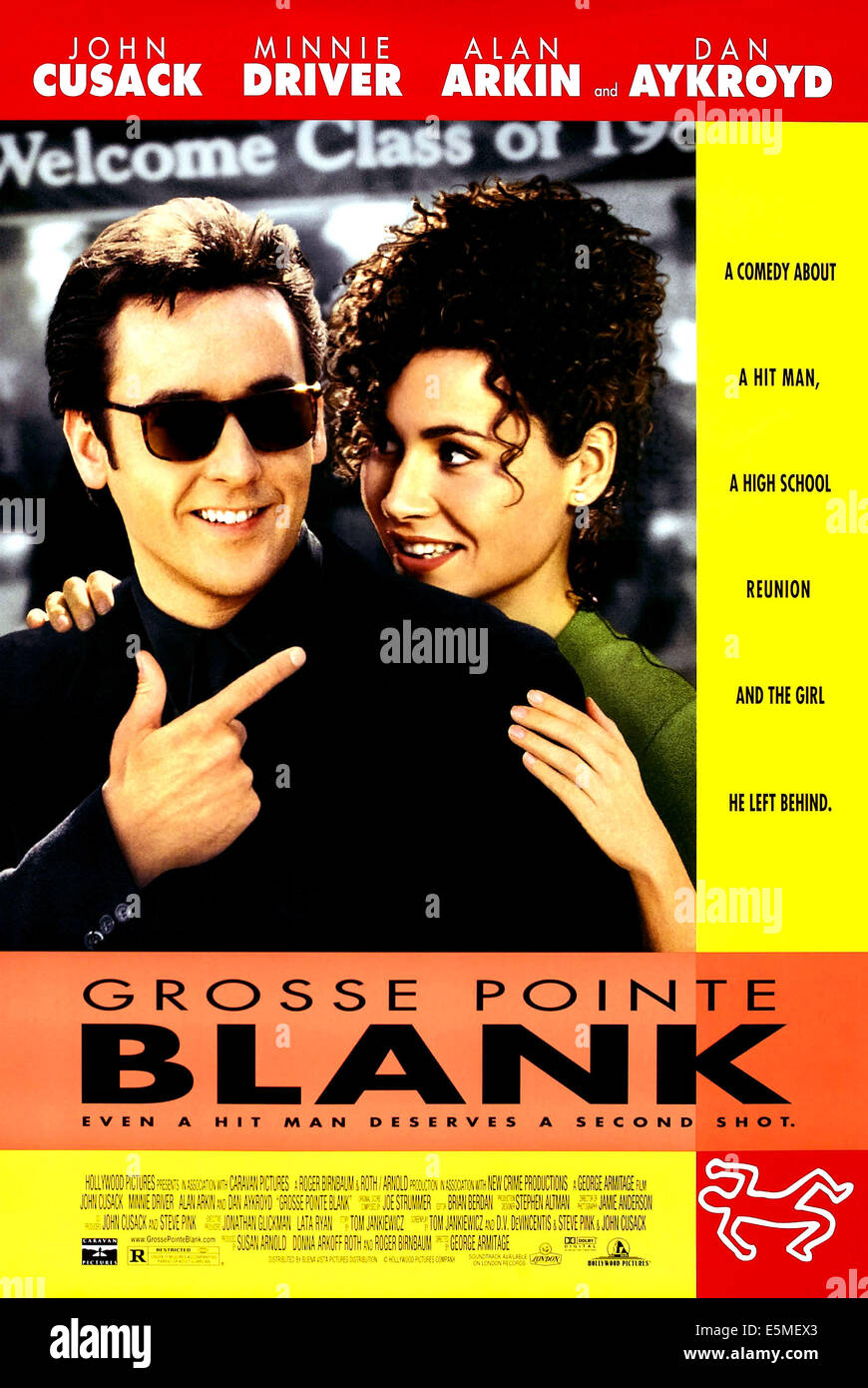 GROSSE POINTE BLANK, l-r: John Cusack, Minnie Driver on poster art, 1997, ©Buena Vista Pictures/courtesy Everett - Stock Image