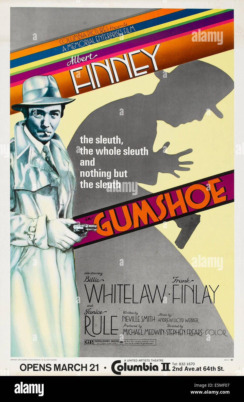 GUMSHOE, US advance poster art, Albert Finney, 1971 - Stock Image