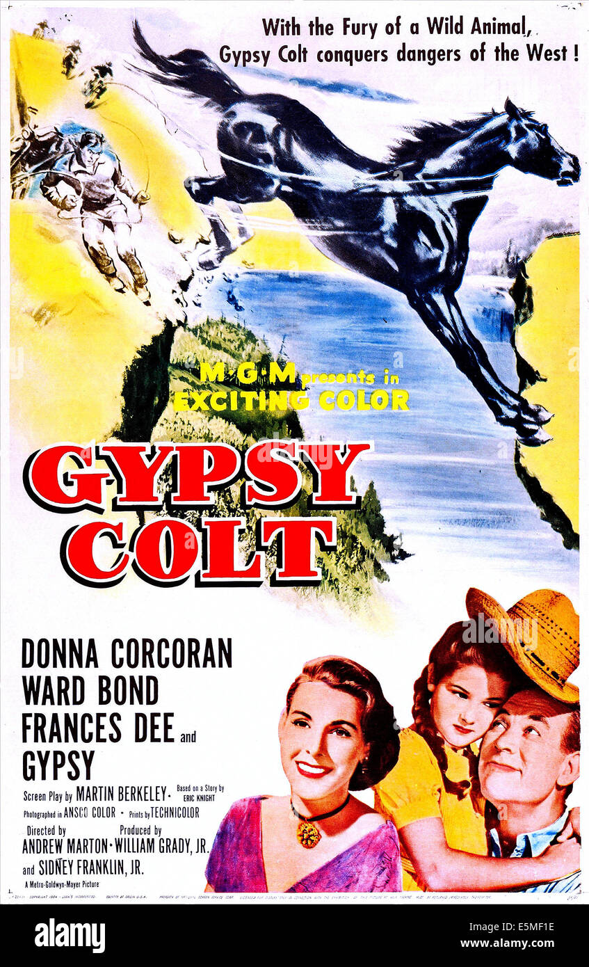 GYPSY COLT, US poster art, from left: Frances Dee, Donna Corcoran, Ward Bond, 1953 - Stock Image