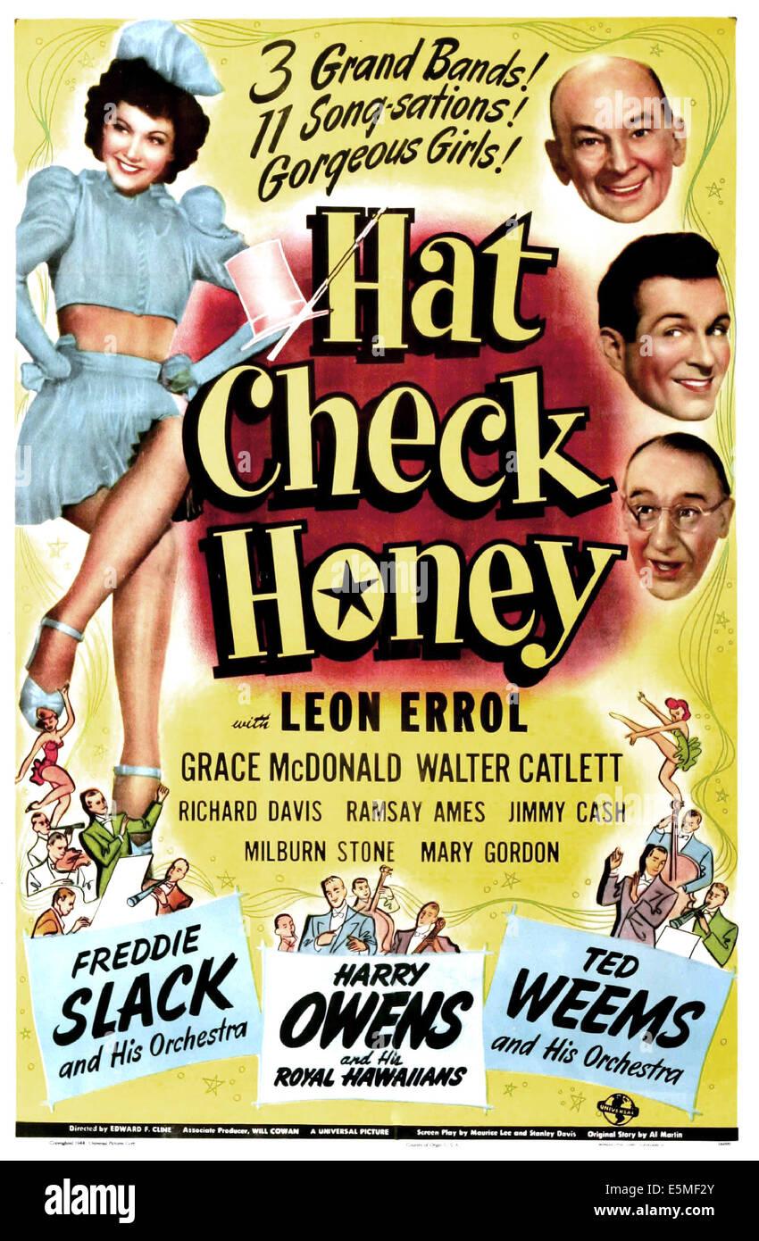 HAT CHECK HONEY, US poster, Grace McDonald (left), right from top: Leon Errol, Richard David, Walter Catlett, 1944 - Stock Image