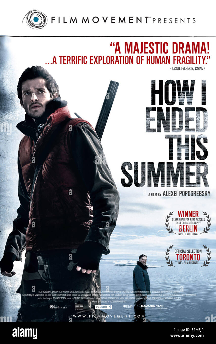 HOW I ENDED THIS SUMMER, (aka KAK YA PROVYOL ETIM LETOM), l-r: Grigory Dobrygin, Sergei Puskepalis on poster art, - Stock Image
