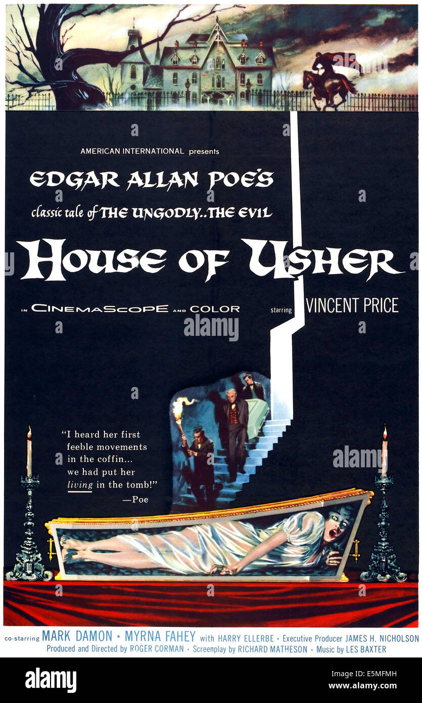 HOUSE OF USHER, (aka THE FALL OF THE HOUSE OF USHER), 1-sheet poster art by Reynold Brown, 1960 Stock Photo
