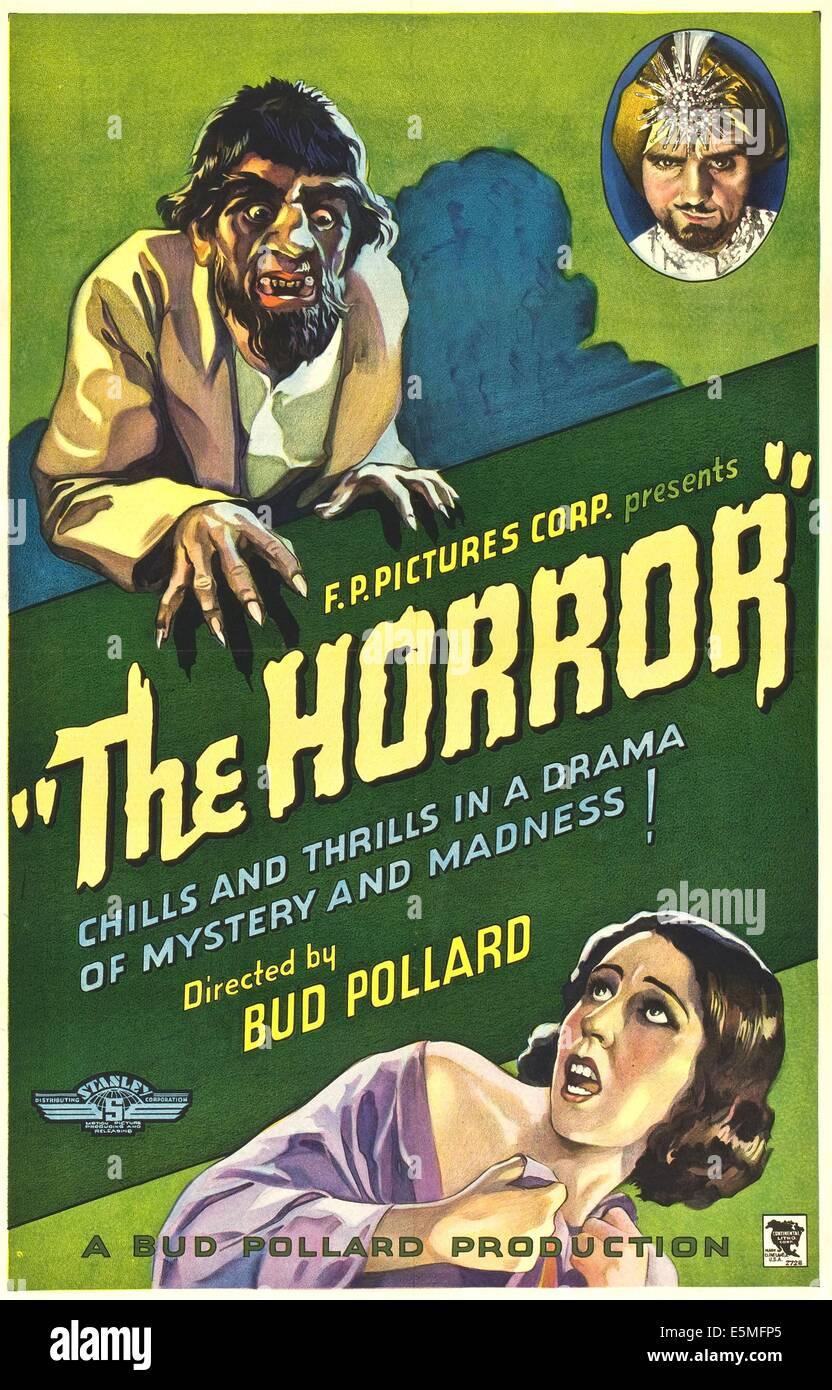 THE HORROR, poster art, 1932. - Stock Image