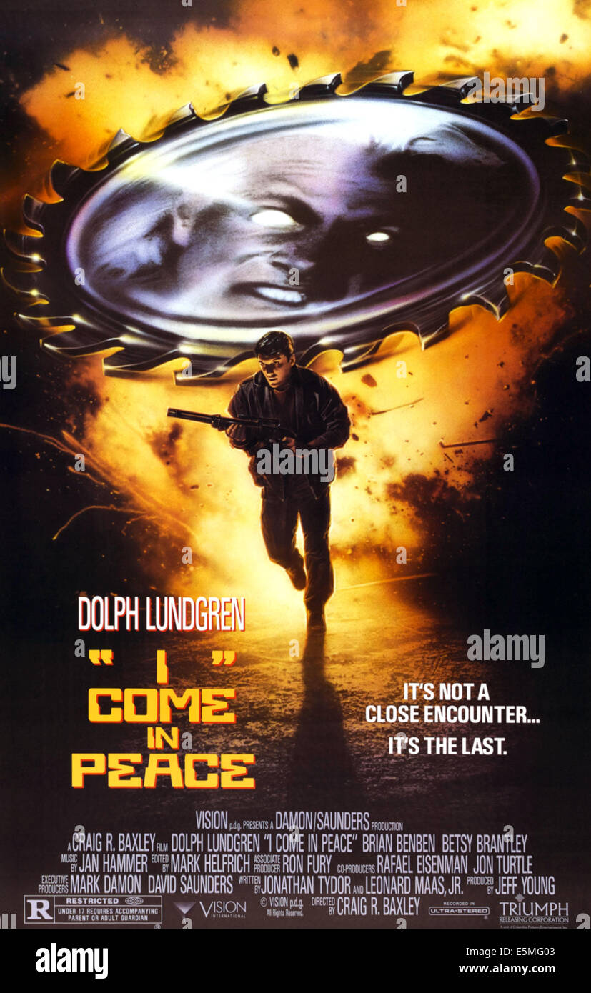 I COME IN PEACE, Dolph Lundgren on poster art, 1990, ©Triumph Films/courtesy Everett Collection - Stock Image