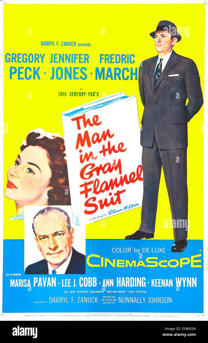 THE MAN IN THE GRAY FLANNEL  SUIT, US poster art,  from left: Jennifer Jones, bottom left; Fredic March, far right; - Stock Image