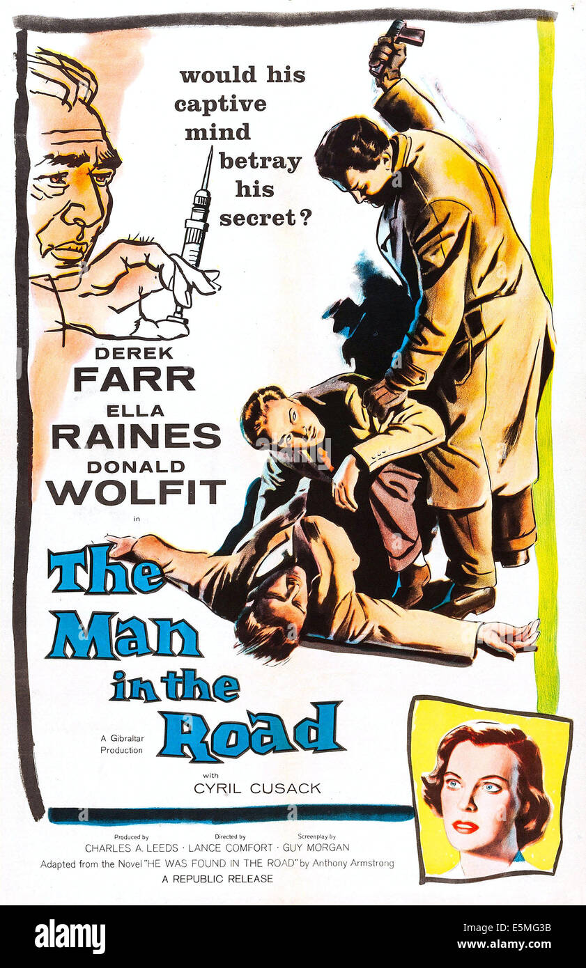 THE MAN IN THE ROAD, US poster art, 1956. - Stock Image